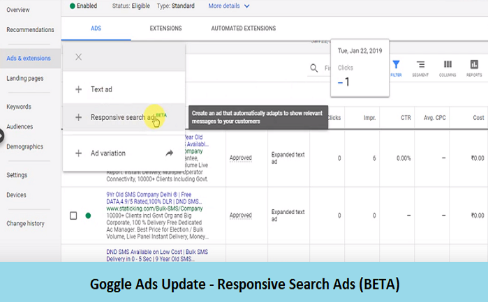 Goggle Ads Update - Responsive Search Ads
